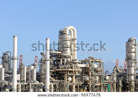 oil refinery and  industry in the harbor of rotterdam netherlands - stock photo