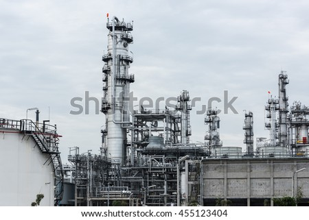 Oil refinery and Petroleum industry at day time, petrochemical industrial - stock photo