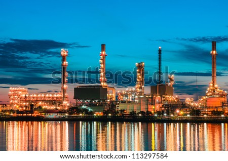 Oil refinery at  Bangkok Thailand - stock photo
