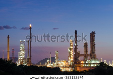 Oil refinery at dark