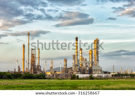 Oil refinery at evening, locations in Thailand.