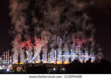 Oil Refinery At Night - stock photo