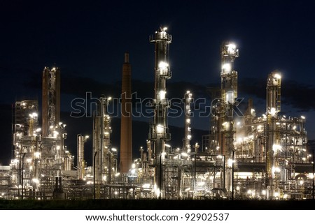 Oil refinery at night in Schleswig-Holstein, Germany.