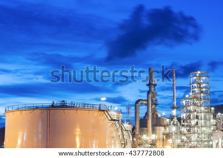 Oil refinery at night - Petrochemical plant - Petroleum
