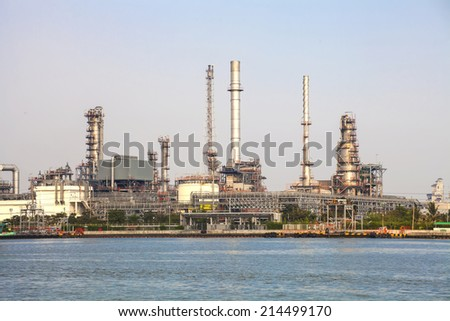 Oil refinery at poor light time
