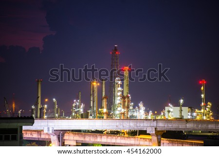 Oil refinery at twilight in bangkok thailand.
