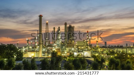 Oil refinery at twilight with colorful sky