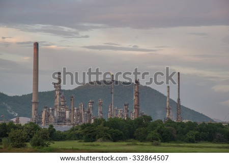 Oil refinery before sunset, locations in Thailand.