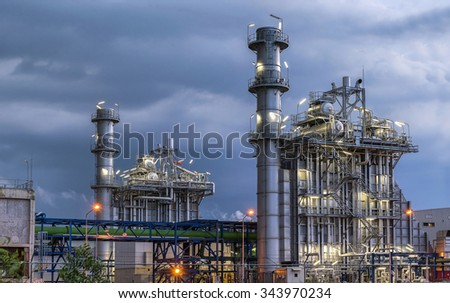 oil refinery building industry - stock photo