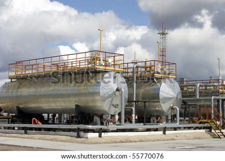 Oil refinery center in West Siberia - stock photo