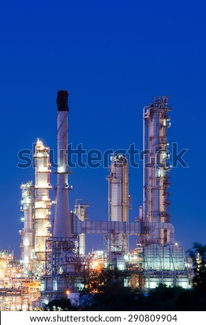 Oil refinery clean energy at night - stock photo