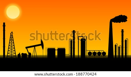 Oil refinery detailed illustration with smokestack and pumpjack - stock photo