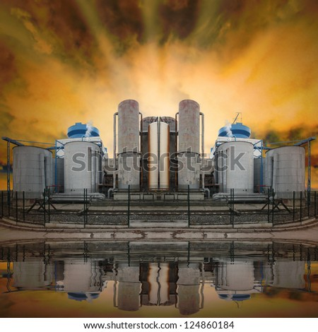Oil refinery. Ecology disaster concept. - stock photo