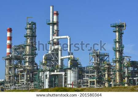 Oil refinery, Europe. Polluting energy.  - stock photo