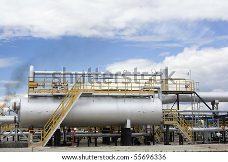 Oil refinery factory - stock photo
