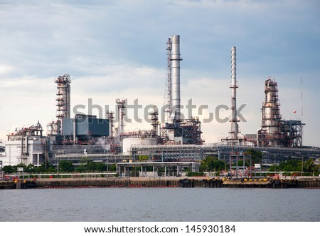 Oil refinery factory at  Bangkok Thailand - stock photo