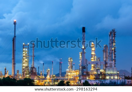 Oil Refinery factory at dark , petrochemical plant , Petroleum - stock photo