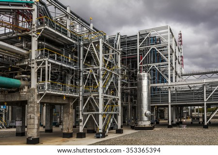 Oil Refinery factory at the cloudy sky, petrochemical plant, Petroleum