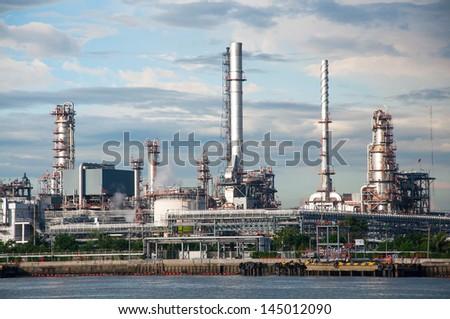 Oil refinery factory at twilight Bangkok Thailand. - stock photo