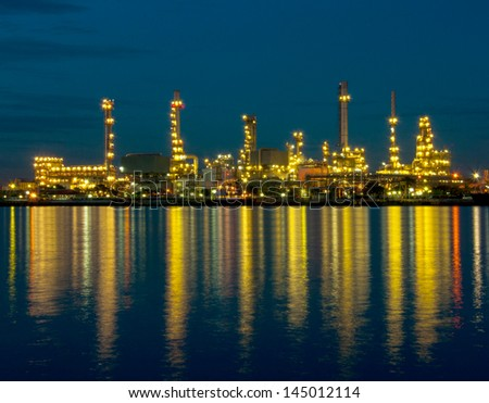 Oil refinery factory at twilight Bangkok Thailand. - stock photo