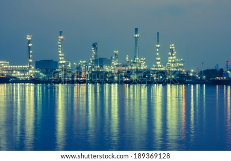 Oil refinery factory at twilight Bangkok Thailand.
