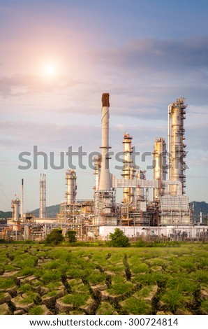 Oil Refinery factory in dry Areas , petrochemical plant , Petroleum - stock photo