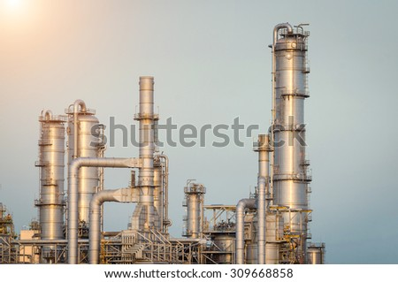 Oil Refinery factory in the afternoon , petrochemical plant , Petroleum , Chemical Industry