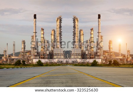 Oil Refinery factory in the morning , petrochemical plant , Chemical Plant , Petroleum - stock photo