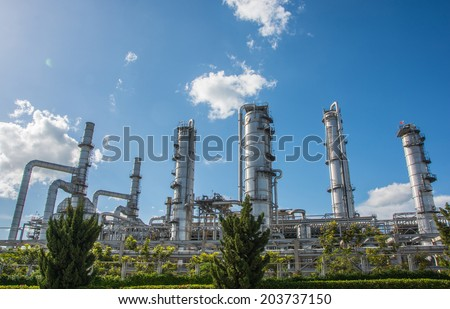 Oil refinery factory plant or petrochemical and power - stock photo