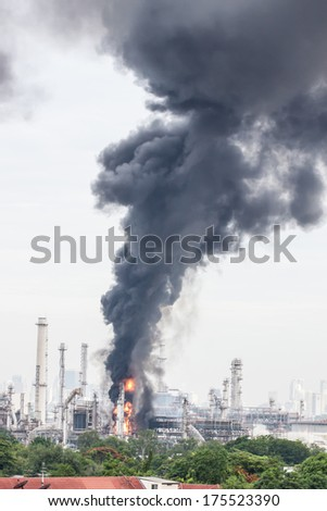 Oil refinery fire in Bangkok, Thailand - stock photo