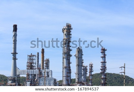 Oil refinery in a day time.