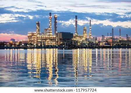 Oil refinery in Bangkok, Thailand just after sunset, petrochemical industry night scene - stock photo