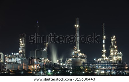 Oil refinery in Hamburg, Germany, petrochemical industry night
