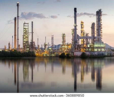 Oil refinery in morning - stock photo