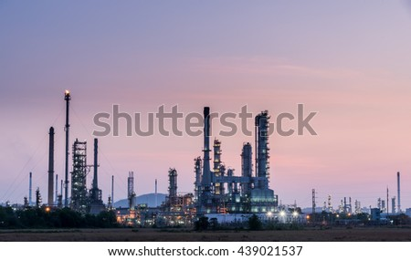 Oil refinery in morning day sunrise, Petroleum, petrochemical plant