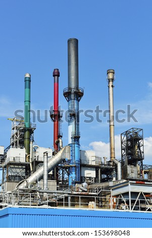 oil refinery in rotterdam harbor - stock photo