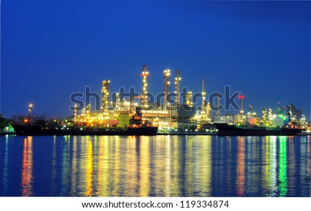 Oil Refinery in twilight in bangkok thailand - stock photo