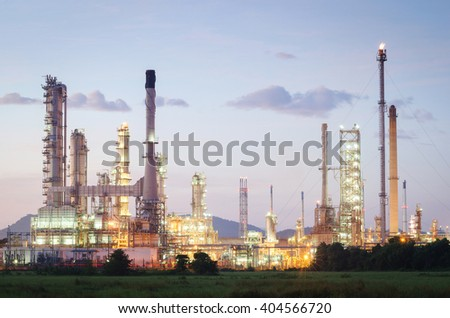 Oil refinery Industrial at Sunrise - stock photo