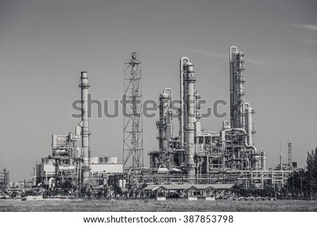 Oil refinery industrial plant , black and white tone