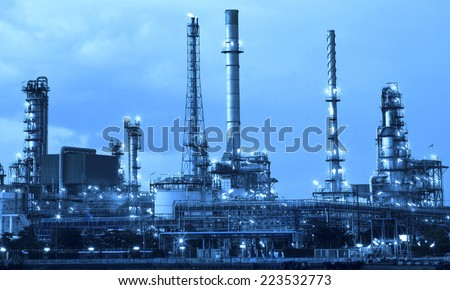 oil refinery industry in metallic color style use as metal style of heavy industry background