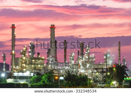 Oil refinery industry plant along twilight morning