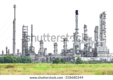 Oil refinery isolated on white background - stock photo