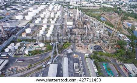 Oil refinery near water with blue sky taken from aerial view