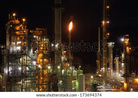 Oil Refinery Night. Long exposure of an oil refinery at night.