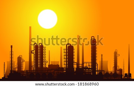 Oil refinery or chemical plant at sunset. Raster version of the illustration. - stock photo