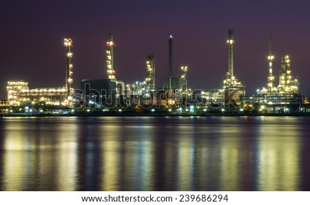 Oil refinery or petrochemical industry in thailand.  - stock photo