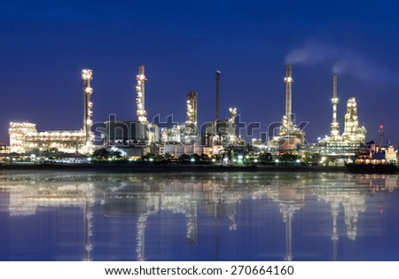 Oil refinery or petrochemical industry in thailand. at Before sunrise.edit Reflections