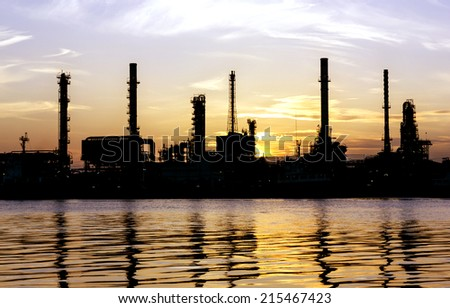 Oil refinery or petrochemical industry in thailand. at  sunrise