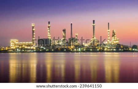 Oil refinery or petrochemical industry in thailand. Colorful tone. - stock photo