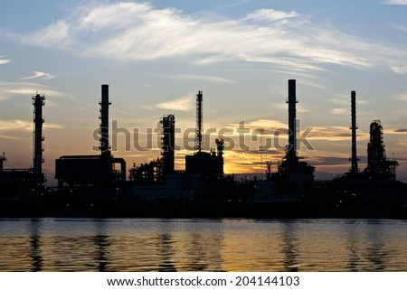 Oil refinery or petrochemical industry in thailand.(Edit Silhouette tone.)